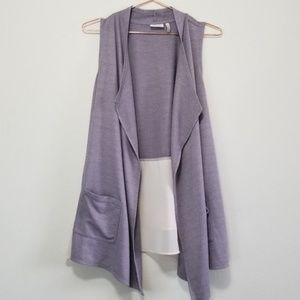 LOGO open front cardigan vest with ruffle